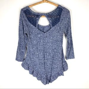 Almost Famous M Blue Knit Tee Top Asymmetric Lace